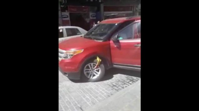 ladyparquímetros huye con araña en Pachuca Hidalgo