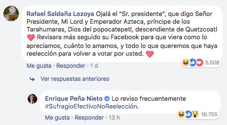 EPN responde que 'sufragio efectivo no reelección' en Facebook
