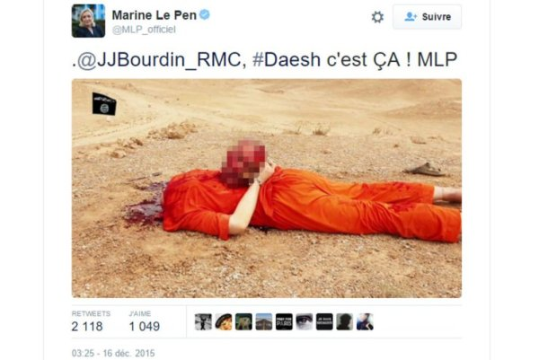 Por tuitear fotos de ISIS, Le Pen podría terminar en prisión