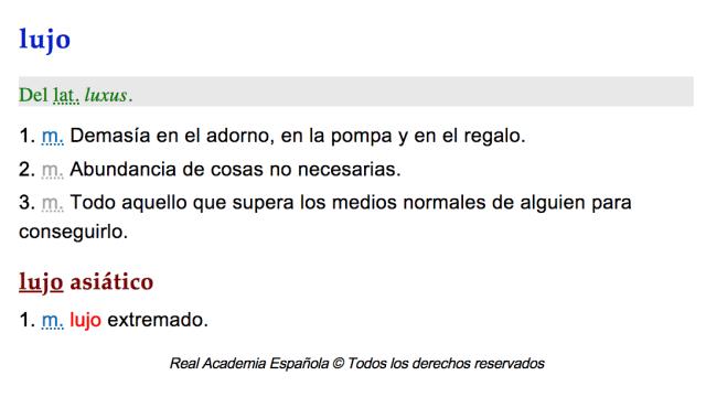 empresarios RAE definición lujo diccionario español