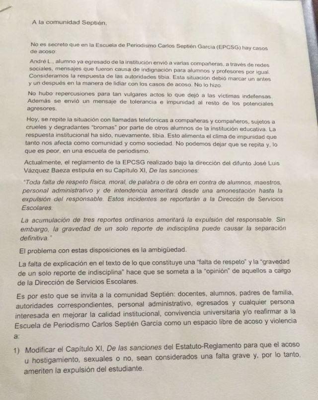 Estudiantes de Carlos Septién denuncian acoso sexual e inacción de autoridades