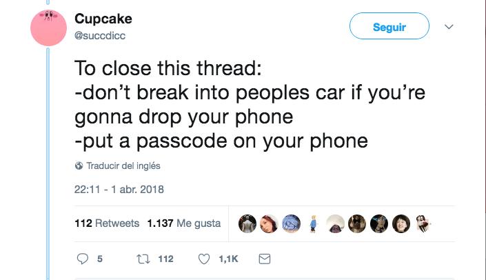 Ladrón olvida celular en coche Sam Cupcake
