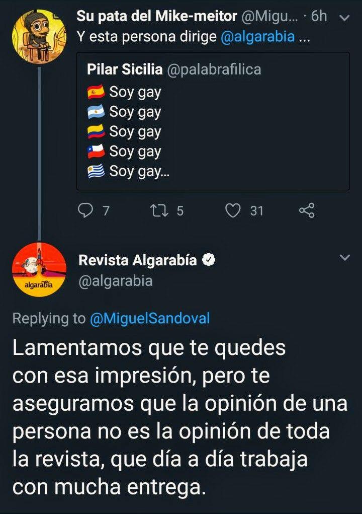 Respuesta de Algarabía a una usuaria denunciando homofobia