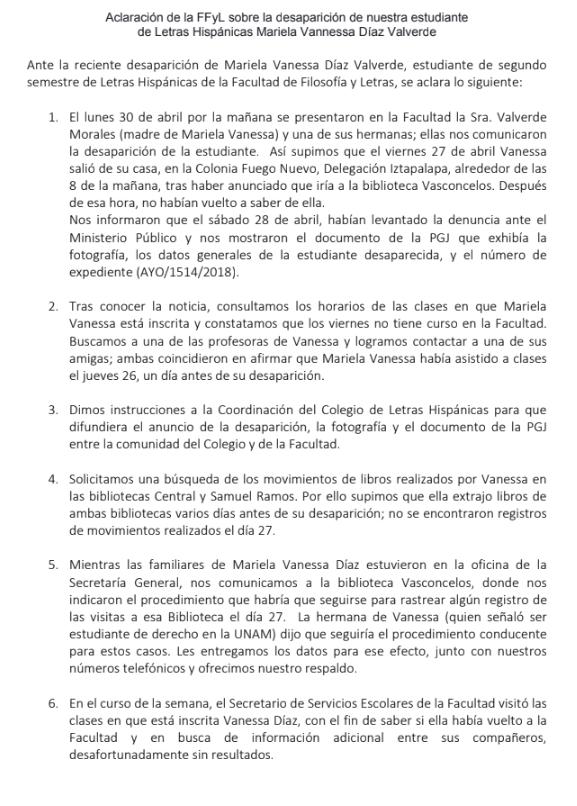 Réplica de la FFyL a Plumas Atómicas por caso de Vanessa Díaz