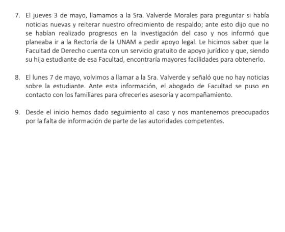 Réplica de FFyL a PA por desaparición de Vanessa Díaz