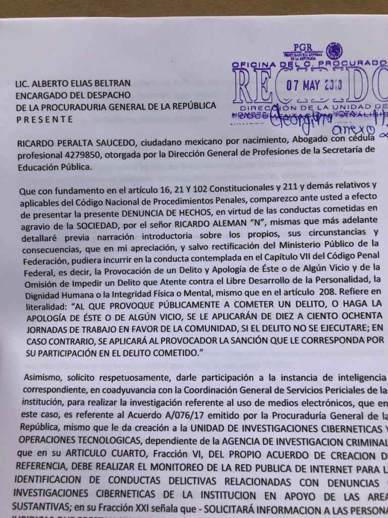 Demanda penal contra Ricardo Alemán por tuit