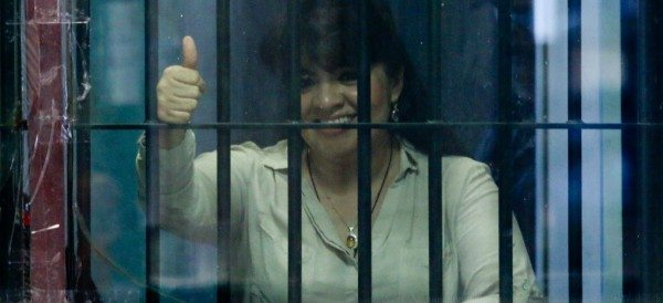 Nestora Salgado mientras estaba recluida en Santa Marta Acatitla