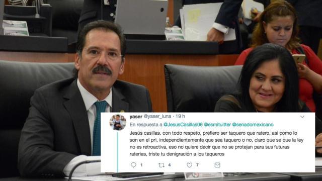 Usuario de Twitter responde a senador: antes taquero que ratero