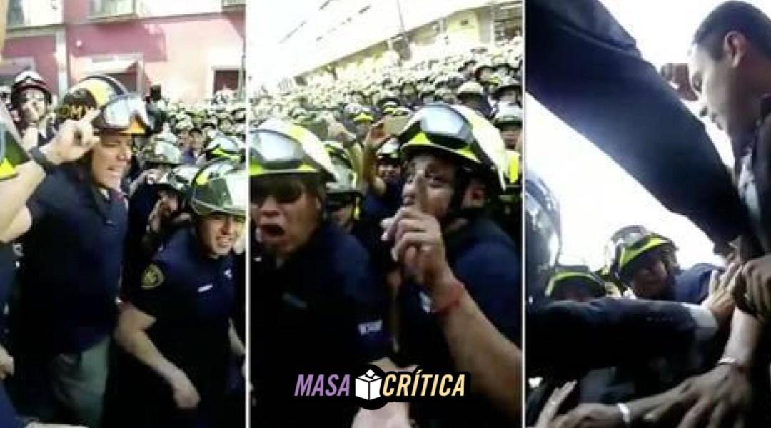 Bomberos agreden a periodistas en protesta de Ismael Figueroa
