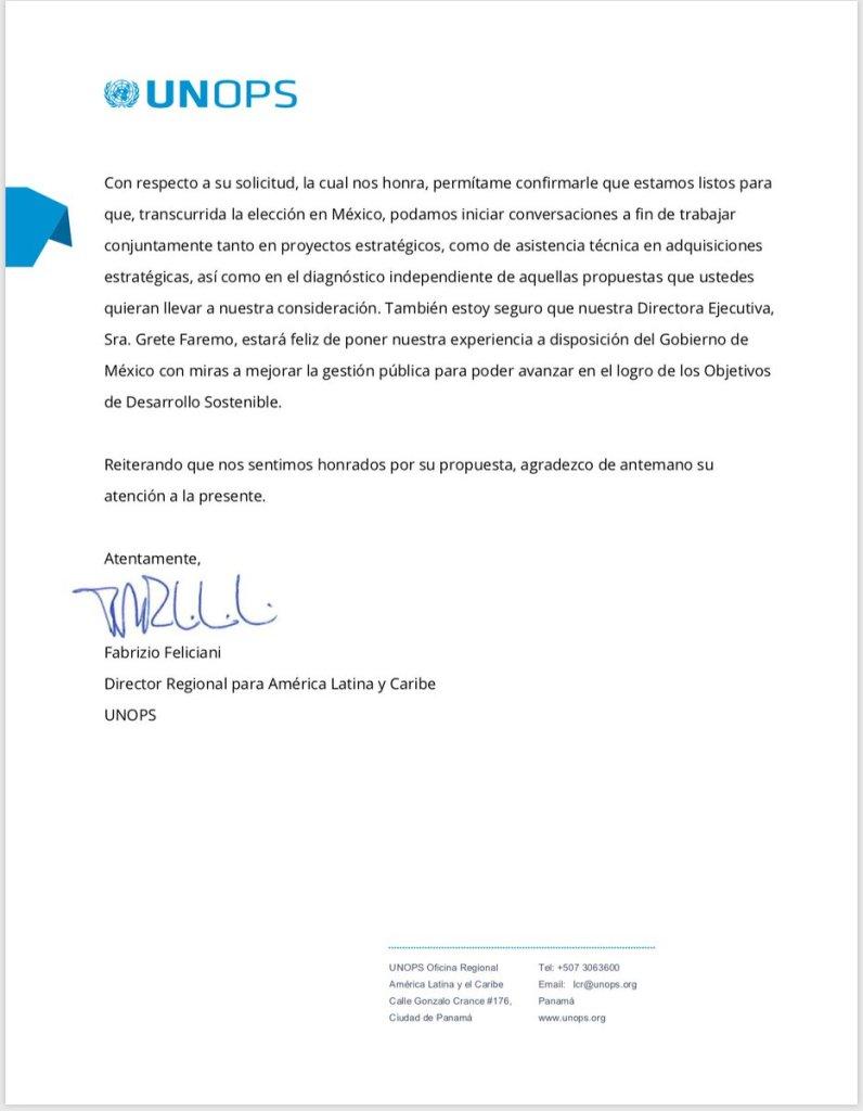 ONU AMLO Carta Trnasparencia Respuesta Contratos