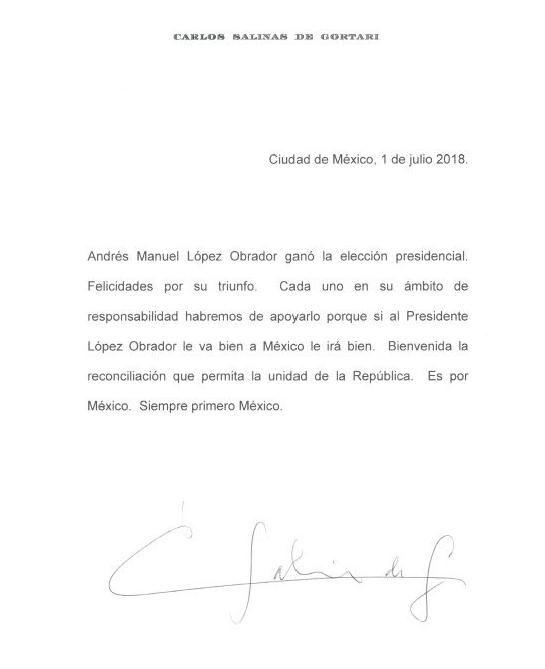 Carlos Salinas de Gortari AMLO Obrador Carta Felicitación