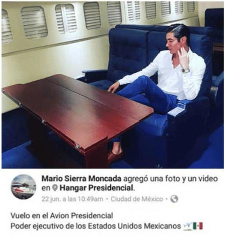 Hijo de general se toma fotos en el 'avión presidencial'