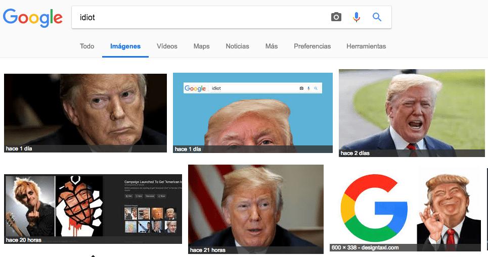 Resultados de búsqueda para 'idiota' en Google