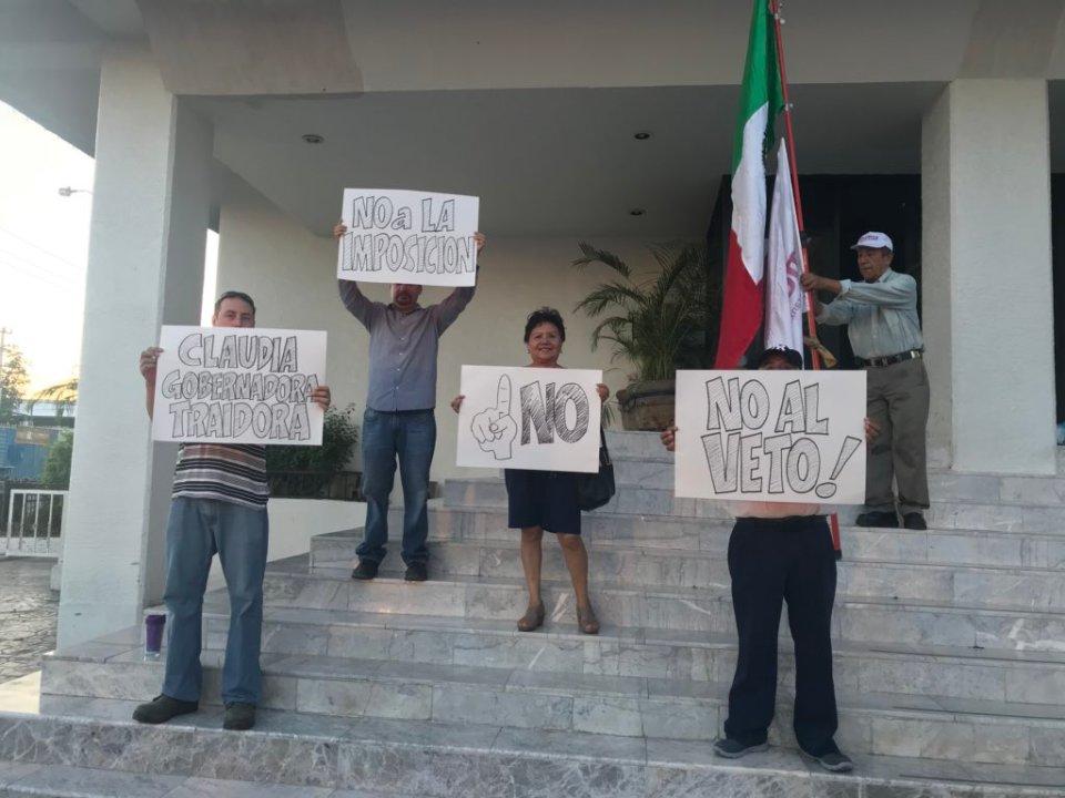 Protesta contra veto constitucional en Sonora