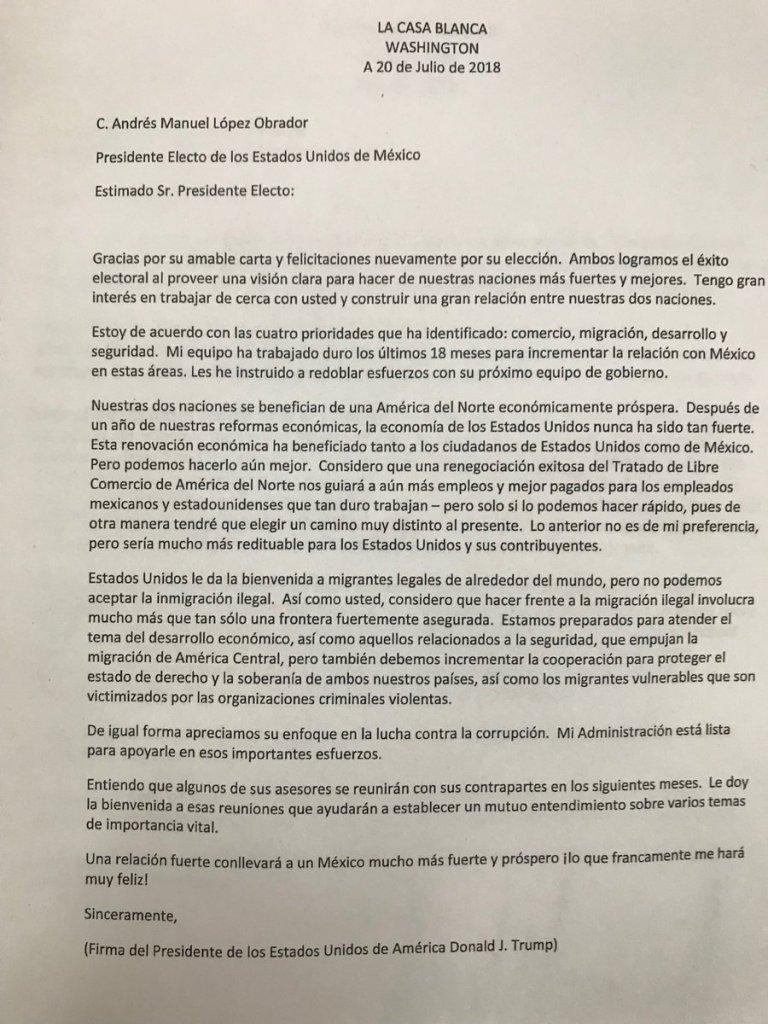 AMLO Obrador Carta Trump TLCAN