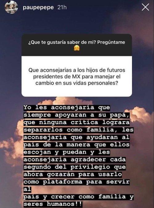 'Consejos' de Paulina Peña a hijos de AMLO