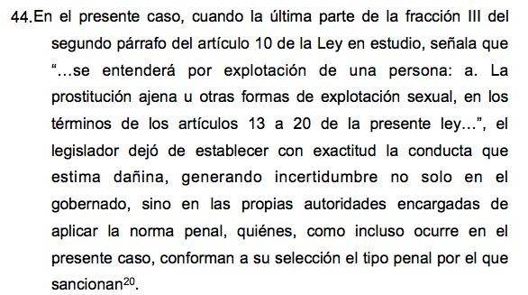 Artículo 44 del amparo ante SCJN sobre explotación y trata