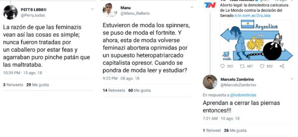 Comentarios de trolls en Twitter contra el aborto