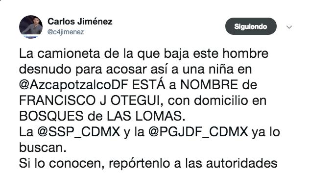 Hombre desnudo persiguió a una mujer en Azcapotzalco