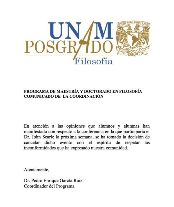 John Searle, Acoso, UNAM