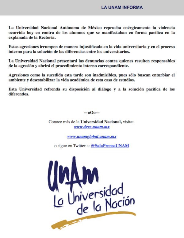 Comunicado DGCS UNAM violencia rectoría