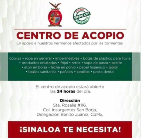 Centro de acopio para emergencia en Sinaloa
