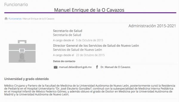 Secretario de Salud, Nuevo León, Manuel De la O Cavazos, Ginecólogo