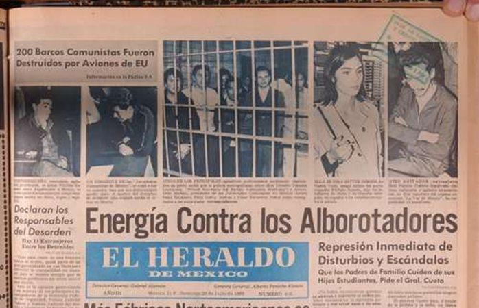 Portada de El Heraldo el 3 de octubre del 68