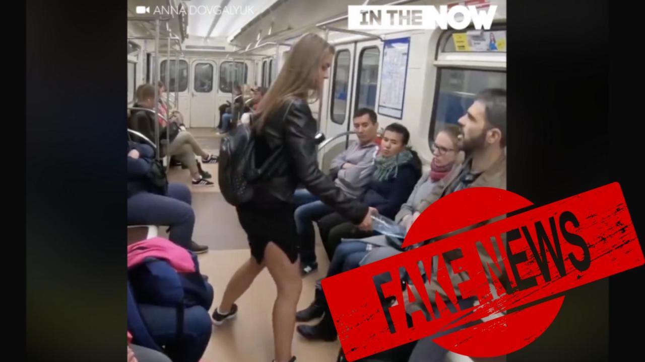 Falso video de mujer atacando hombres en metro ruso