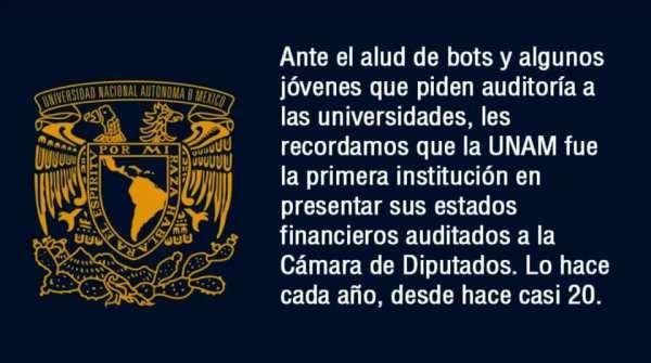 Comunicado de la UNAM respondiendo a exigencia de auditoría