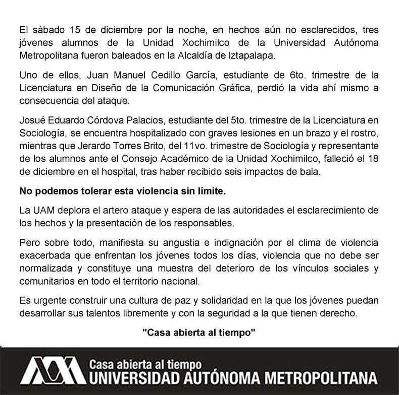 LA UAM condena el asesinato de tres estudiantes del campus Xochimilco