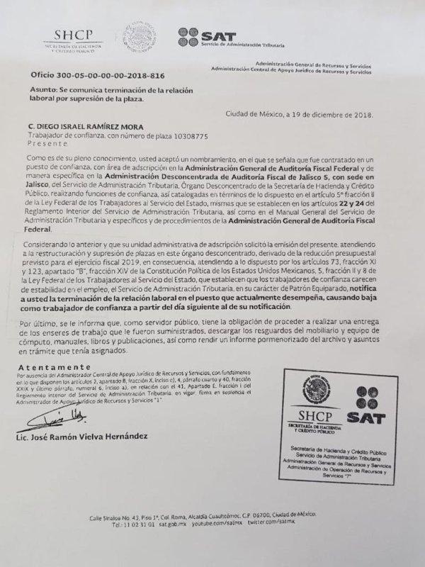 Carta de despido del SAT a trabajador regional