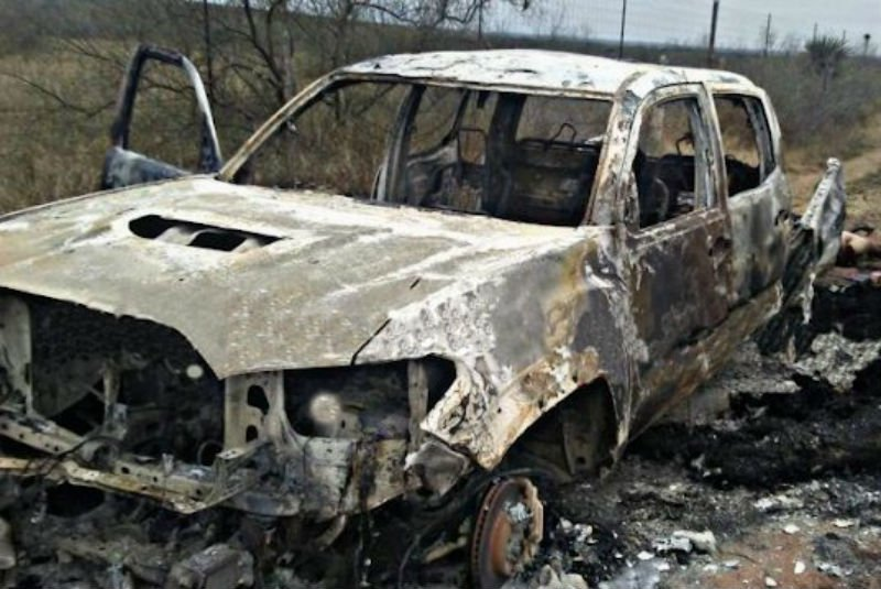 Restos de las camionetas encontradas en Miguel Alemán, Tamaulipas