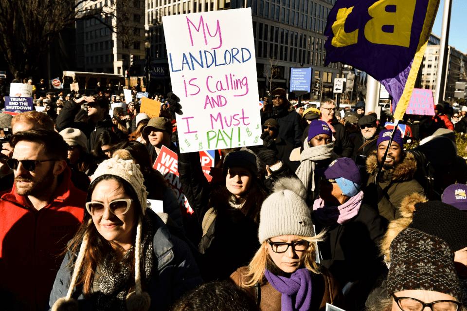 Protesta de trabajadores de gobierno en Washington D. C.