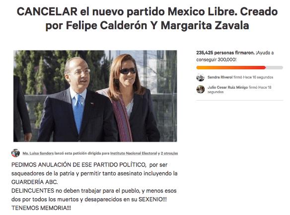 Petición contra partido de Zavala y Calderón ya rebaso las firmas que necesitaría para ser partido