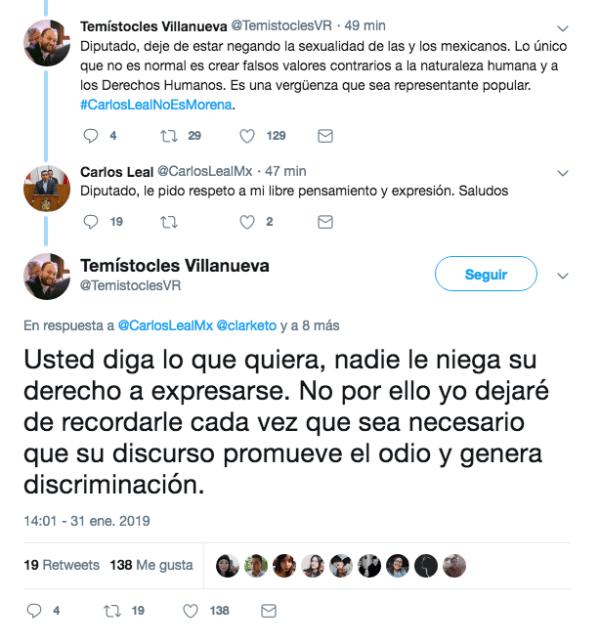Discusión en Twitter entre diputados por dichos homófobos de Leal