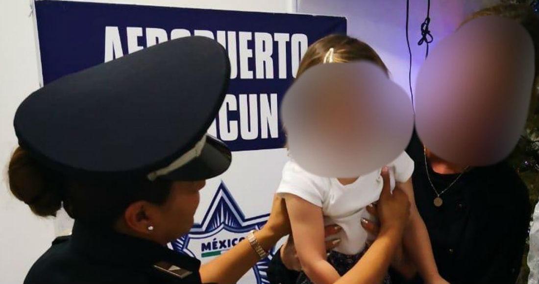 Rescatan en aeropuerto de Cancún a niña secuestrada