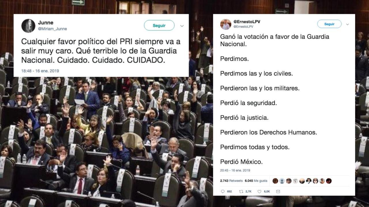 Reacciones en redes sociales a aprobación de Guardia Nacional