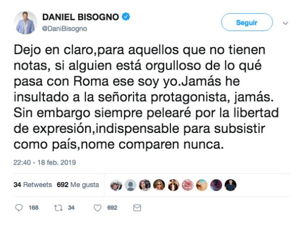 Post de Bisogno en Twitter, no pide disculpas por su comentario