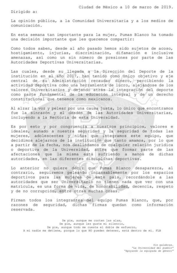 Pumas Blanco Flag, Ciudad Universitaria, Femenil, Discriminación