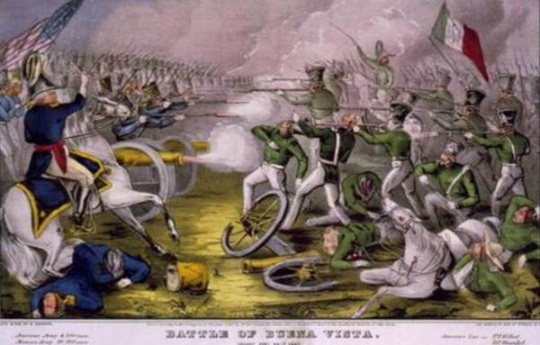 Grabado de la batalla de Churubusco, con el Batallón de San Patricio al frente