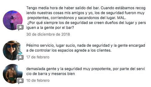 Comentarios negativos sobre seguridad de Rico en Facebook