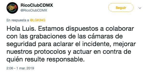 Respuesta en Twitter de Rico Club a denuncia de agresión