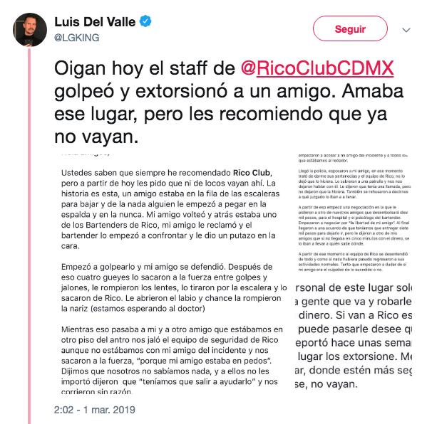 Denuncia de agresión en Rico Club