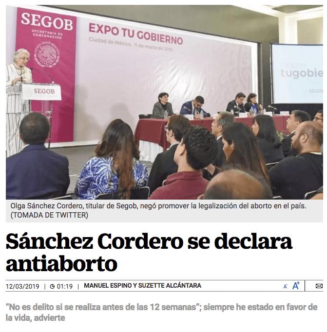 Captura de pantalla de nota de El Universal que descontextualiza dichos de Sánchez Cordero