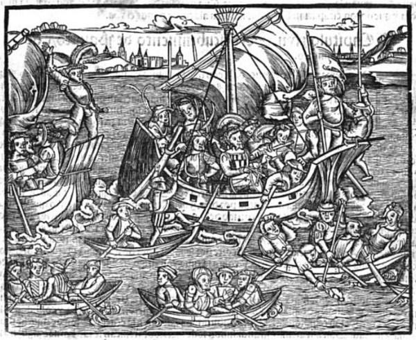 Ilustración de llegada de Cortés a México