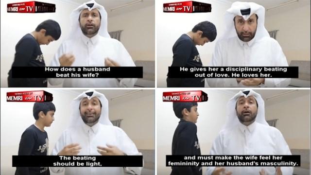 Al-aziz, sociólogo de Qatar muestra en video cómo golpear a una mujer, según el Islam. Foto: Twitter