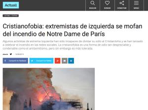 Actuall, medio de extrema derecha, sobre incendio de Notre Dame