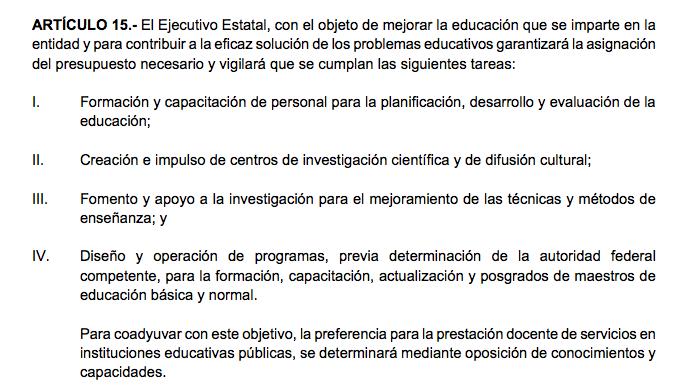 Artículo 15 de la Ley General de Educación del Estado de Sinaloa