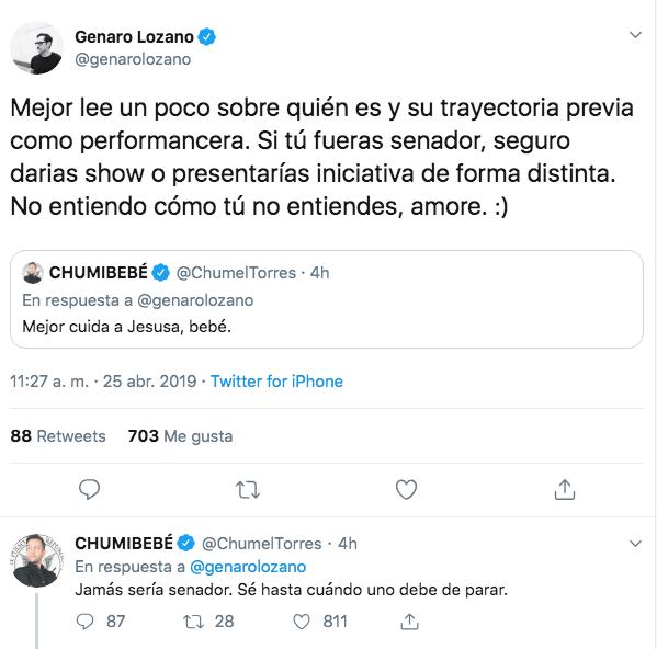 Discusión en Twt entre Genaro Lozano y Chumel Torres